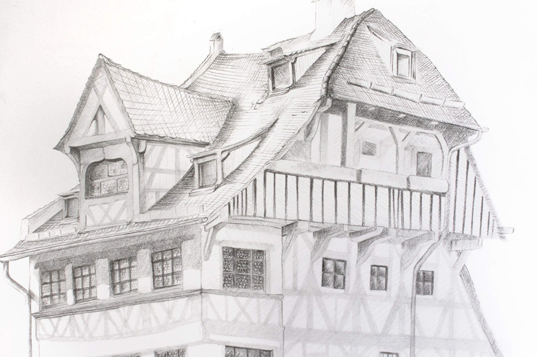 So Zeichnen Sie Das Durer Haus Mit Dem Castell 9000