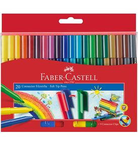 Faber-Castell - Connector Filzstift, 20er Kartonetui