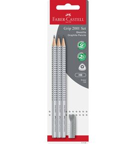Faber-Castell - 3 crayon graphite Grip 2001, HB + 1 gomme