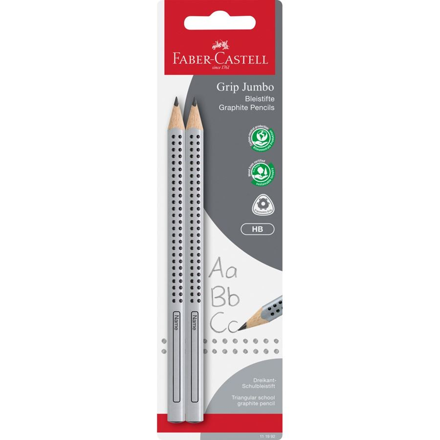 Faber-Castell - 2 crayons graphite Jumbo Grip HB