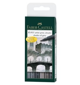 Faber-Castell - Pitt Artist Pen Brush Tuschestift, 6er Etui, Shades of grey