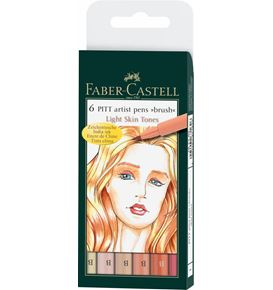 Faber-Castell - Pitt Artist Pen Brush Tuschestift, 6er Etui, Light skin