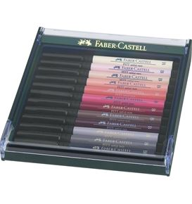 Faber-Castell - Pitt Artist Pen Brush Tuschestift, 12er Etui, Portraitfarben